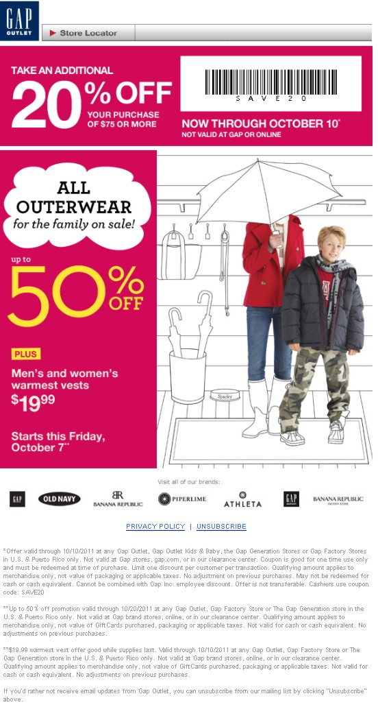 Discount coupons for gap stores
